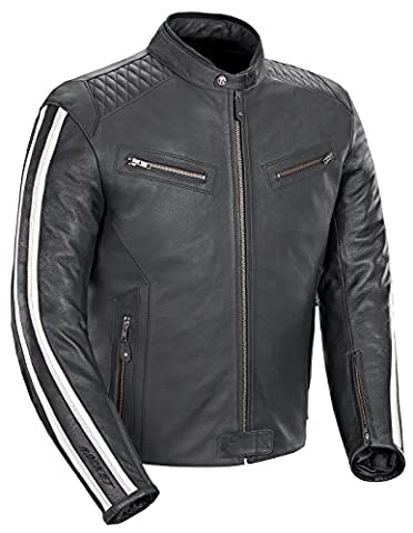 Joe Rocket Vintage Rocket Men's Leather Motorcycle Jacket (Black/White, X-Large) - Vintage Leather Accessories