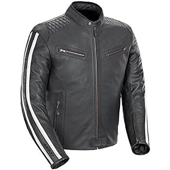 Joe Rocket Vintage Rocket Men's Leather Motorcycle Jacket (Black/White, Large)
