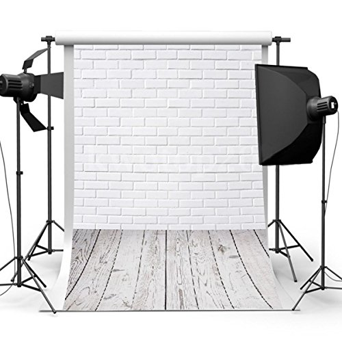 Showyou 3x5ft Silk Photography Backdrop White Brick Wall Wood Floor Background Studio Props