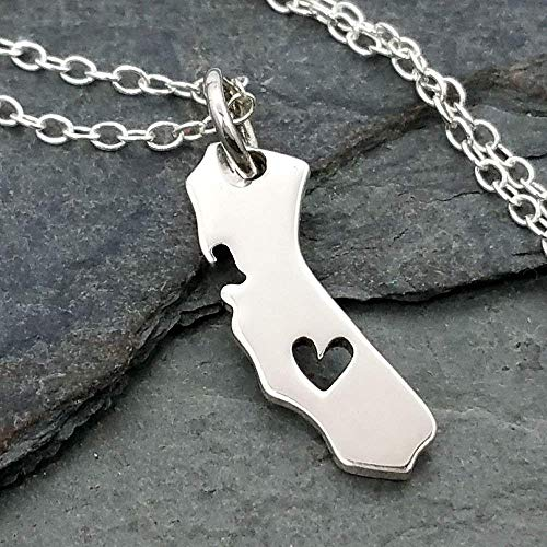 Heart of California State Charm Necklace - 925 Sterling Silver, ()