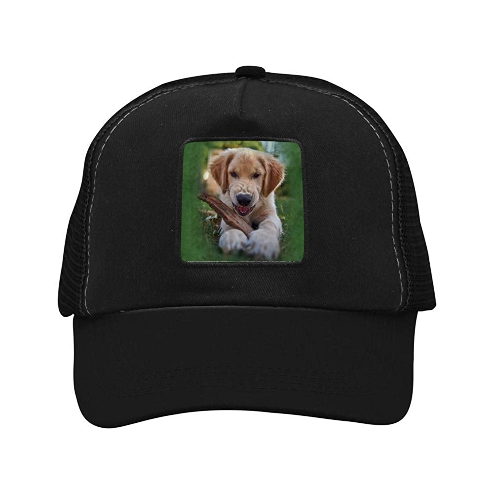 Mesh Caps Hats Adjustable for Men Women Unisex,Print Dog Bites Wood