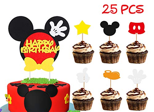 BeYumi Mickey Happy Birthday Cake Topper Cute Cupcake Decorations Mickey Themed Birthday Party Favors for Toddlers Baby Boys Girls (25PCS)]()