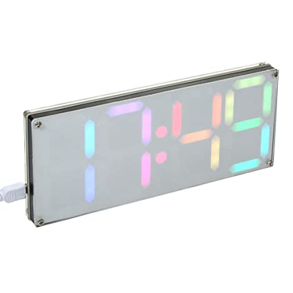 KKmoon DS3231 DIY 4 dígitos reloj digital LED Kit con colores del arco iris y funda