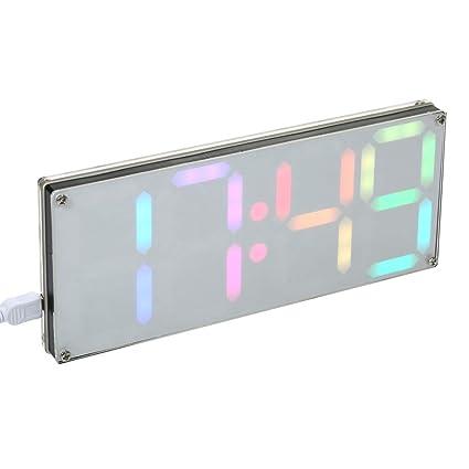 KKmoon DS3231 DIY 4 dígitos reloj digital LED Kit con colores del arco iris y funda