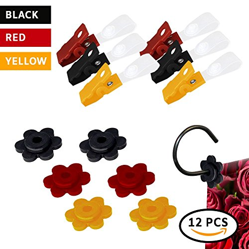 Garden Flag Stoppers Rubbers Stops and Adjustable Anti-Wind Clips| 12 Pieces Garden Flag Accessories | Set in Red,Yellow & Black, for Small Garden Flags 12x18 inches |Pack for Garden Flag Poles Stands ()