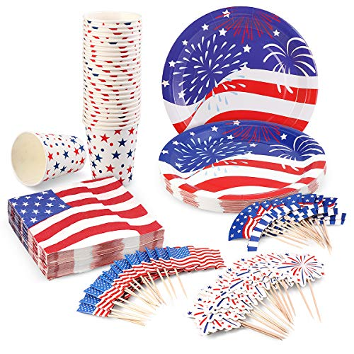July 4th Decorations Disposable Dinnerware Set for Fourth of July Party Supplies Independence Day Decorations - 25 Plates, 25 Cups, 50 Napkins and 50 Cupcake Toppers(3 Styles) Included -