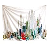 """Pawaca Cactus Wall Hanging Tapestry Decor, 60"""" X 80"""" Polyester Fabric Floral Wallpaper Home Decorations for Bedroom, Living Room, Dorm"""