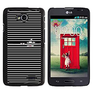 FECELL CITY // Duro Aluminio Pegatina PC Caso decorativo Funda Carcasa de Protección para LG Optimus L70 / LS620 / D325 / MS323 // Black White Girl Deep Dark Lines Lips Fashion