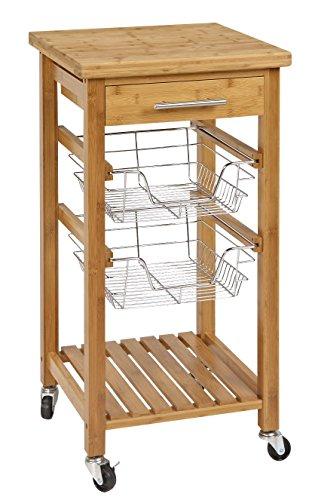 Corner Housewares Modern Rustic Bamboo Kitchen Dining Cart Trolley 1 Sliding Drawer, Bottom Shelf and 2 Metal Wire Baskets