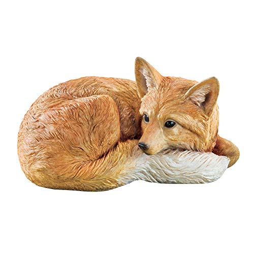 Collections Etc Resting Fox Textured Hand-Painted Figurine, Outdoor Decorative Figurine for Yard or Garden (Fox Yard Statue)
