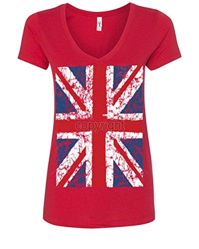 (Union Jack V-Neck T-Shirt United Kingdom Distressed British Flag Red 2XL)