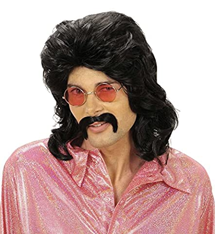 70s MAN WIG & MOUSTACHE - BLACK by Sancto