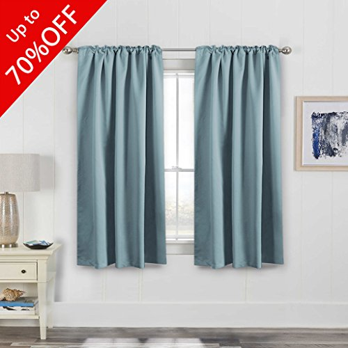 Permium Full Blackout Curtain Panels Pair, Thermal Insulated Back Tab/Rod Pocket Window Treatment Drapes for Living Room/Bedroom 52 by 63 Inch - Stone (Blue Pleated Drapes)