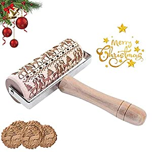 HIQE-FL Legno 3D Mattarello di Natale,Mattarello Decorativo Natale,Mattarello Inciso per Biscotti,Mattarello in Rilievo di Natale,Rolling Pin per Biscotti (B) 4 spesavip