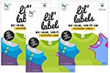 Lil' Labels Clothing Labels, Write On Name, No Iron, Washer and Dryer Safe, Kids Label for Daycare and School, Set of 3