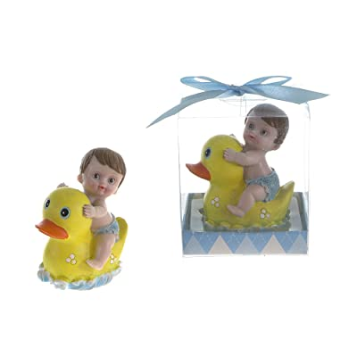 """Lunaura Baby Keepsake - Set of 12""""Boy"""" Baby Riding on Rubber Ducky Favors - Blue : Baby"""