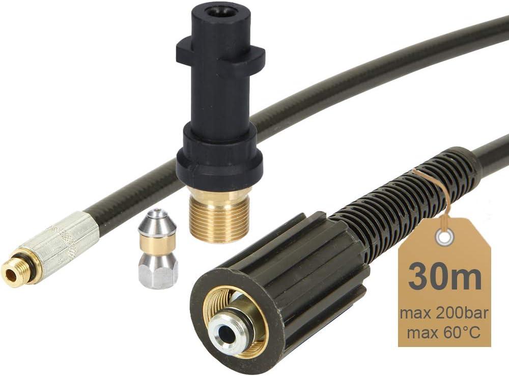 avec adaptateur Tuyau de nettoyage de canalisation Id/éal pour nettoyeur haute pression K/ärcher,.. 60//°C/ /avec buse rotative | 25/m | de Mcfilter