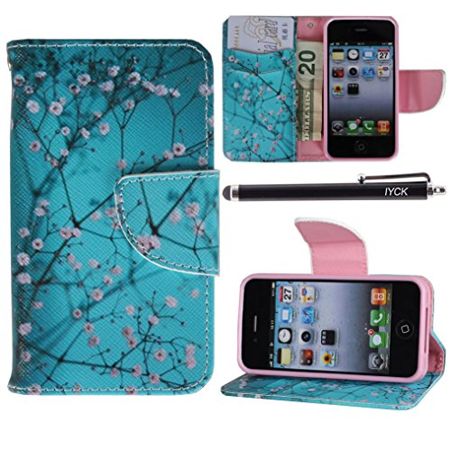 ne 4 Case Wallet, iYCK Premium PU Leather Flip Folio Carrying Magnetic Closure Protective Shell Wallet Case Cover for iPhone 4 / 4S with Kickstand Stand - Plum Blossom ()
