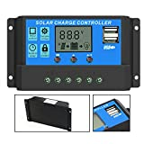 Solar Controller, ALLPOWERS Intelligent ALLPOWERS 20A Solar Charge Controller Solar Panel Battery Intelligent Regulator with USB Port Display 12V/24V