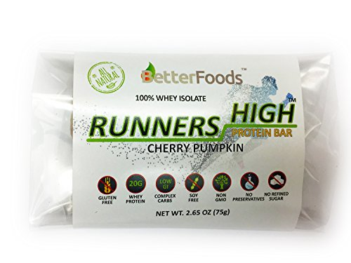 Runners High Protein Bar (Hand-Made Large 2.65 oz 75g Bars, 20g Protein, Gluten Free, Soy Free, Non GMO, 100% Whey Isolate, No Preservatives, All Natu…