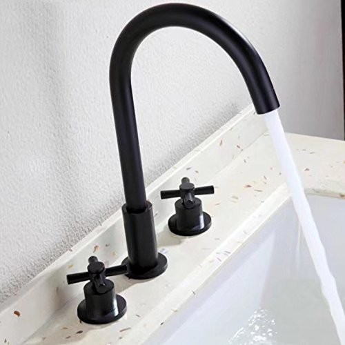 Merveilleux Homili Modern Bathroom Sink Faucet Widespread Double Handle Basin Filler  Tap Matte Black