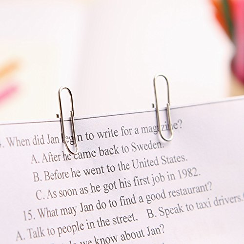 100 pcs/set Rainbow colored paper clip Silver metal clips memo clip bookmarks stationary office accessories