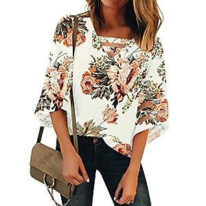 LookbookStore Women's Casual V Neck Mesh Panel Blouse Tops 3/4 Bell Sleeve Shirt