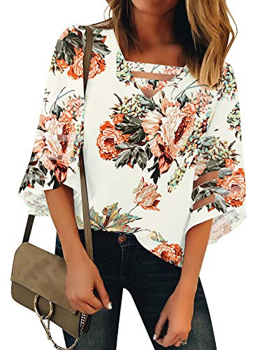 LookbookStore Women's Casual V Neck Mesh Panel Blouse Tops 3/4 Bell Sleeve Shirt