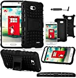 Magic Global Gadgets - Black Heavy Duty Armour Tough Shock Proof Stand Hard Case Cover For L.G L70 D320N / Dual D325 / LG L70 Dual SIM D325 With Screen Guard, Cleaning Cloth & Stylus Pen
