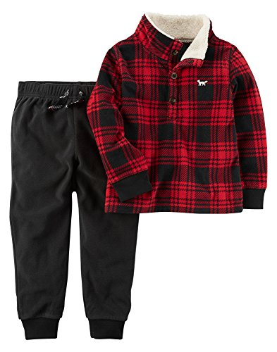 2 Piece Long Sleeve Top And Pants Set 3 Month Black/Red ()