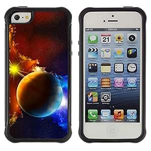 """Pulsar iFace Series Tpu silicona Carcasa Funda Case para Apple iPhone SE / iPhone 5 / iPhone 5S , Los planetas de la galaxia nubes de gas de la estrella Sol Azul Amarillo"""""""