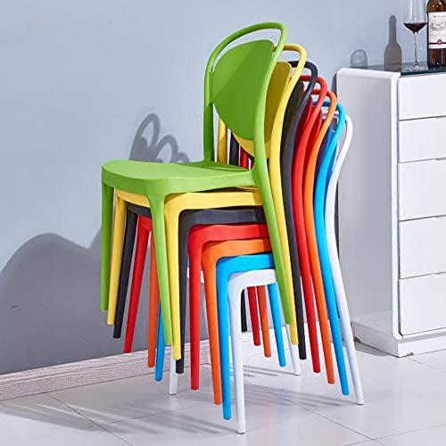 DALL matsalsstol uppsättning med 2 mode plaststol nordisk fritid stapelbar ryggstöd moderna möbler 52 x 46 x 89 cm (färg: Blå)