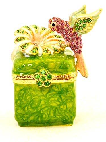 Humming Bird on Flower Sitting on Box, Hand Set Green & Pink Swarovski Crystal, Hand Painted Brushy Green Enamel Over Pewter, L 2.00 X H 2.00 X W 1.25