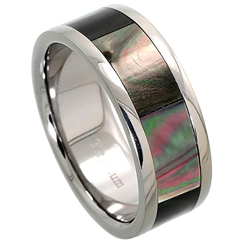 Titanium Wedding Mother Pearl Comfort
