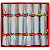6Crackers for Christmas or New Year's Eve–Stylish Silver Foil with Neon Straps and Filling