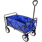 Topeakmart Folding Collapsible Wagon Garden Cart Shopping Beach Cart (Blue)
