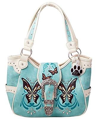 HW Collection Western Buckle Butterfly Rhinestone Concealed Carry Handbag Shoulder Bag