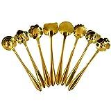 Felice Set of 8 Stainless Steel Creative Flower Cartoon Coffee Spoon, Sugar Spoon, Stirring Spoon, Tea Spoon, Ice Cream Spoons Gold