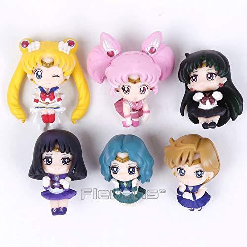 Sailor Moon Tea Cup Decorations Mini PVC Figures Toys 6pcs/set Tsukino Usagi Chibi USA Sailor Uranus Pluto Neptune Saturn Boxed