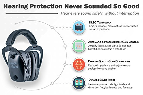 Pro Ears - Pro Tac Slim Gold - Military Grade Hearing Protection and Amplification - NRR 28 - Ear Muffs -  Lithium 123a Batteries - Black by Pro Ears (Image #3)
