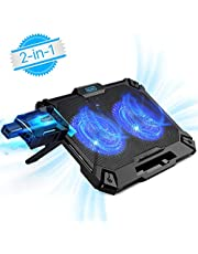 Mbuynow Base di Raffreddamento PC Portatile 2 in 1, Ventola PC per Raffreddamento Esterno con Silenziatore, Supporto Regolabile a 8 Livelli e Supporta di Telefonino (Fino a 17,3 Pollici)