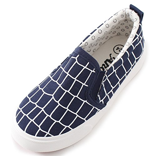 Alexis Leroy Kid's Low-Up Classic Slip On Check Canvas Shoes Dark Blue 8.5-9 M US Toddler (Check Shoes Canvas)