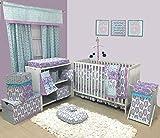 Bacati Isabella Girls Paisley 6 Piece Crib Set with Diaper Stacker, Lilac/Purple/Aqua
