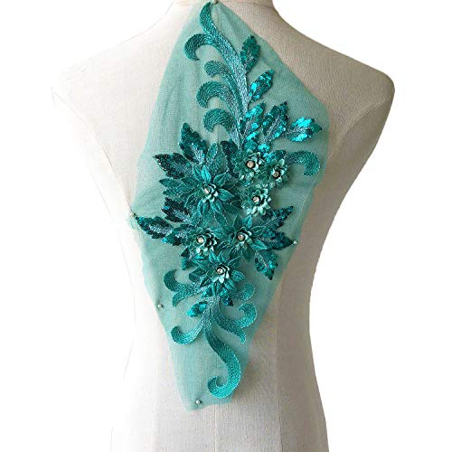 (Exquisite Green Flower Applique,Beaded,Sequined,Floral Patch Lace Appliques Motif for Party Dress Ballgown)