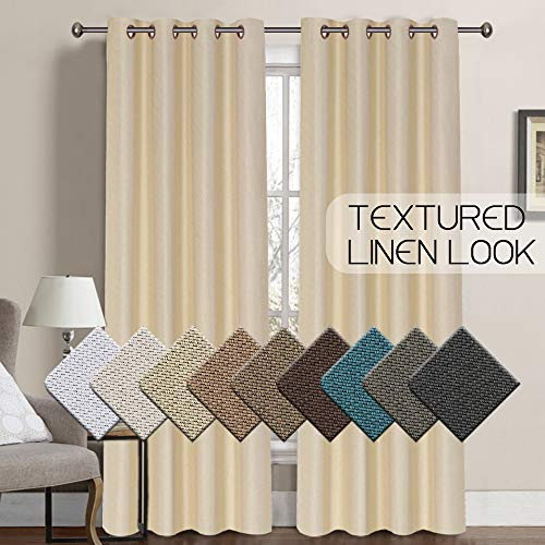 nal Room Darkening Rich Textured Linen Like Thermal Insulated Glass Door Curtain Panel Solid Ring Top Curtains/Drapes for Living Room/Bedroom (One Panel, 52 x 96 Inch, Beige) ()