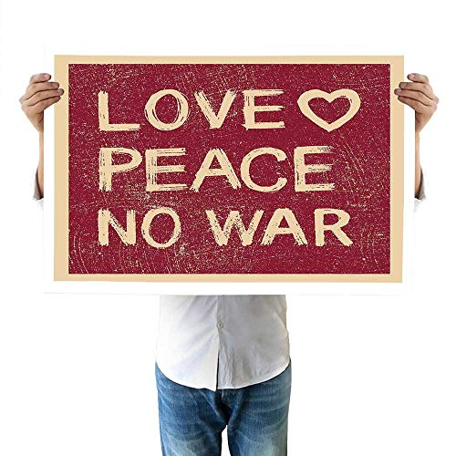 1960s Brush Love Peace Themed Text Pacifist Line Political Hippie Groovy Artistic Design Wall 32
