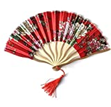 Light Red Cherry Blossom Chinese Folding Hand Fan Wedding Gifts For Guests