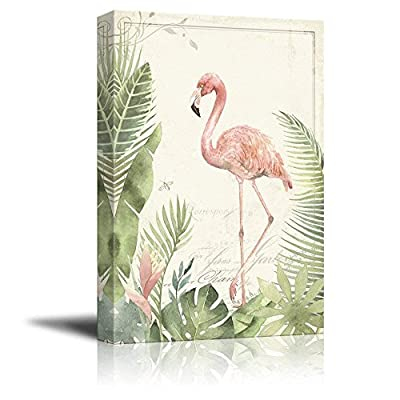 Amazing Object of Art, Vintage Style Flamingo on Tropical Plants Background, Premium Creation