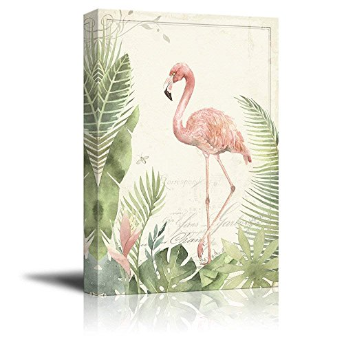 Vintage Style Flamingo on Tropical Plants Background