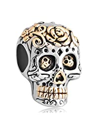 Skull Flower Charm Dia De Los Muertos Jewelry Sale Cheap Beads Fit Pandora Charms Bracelet
